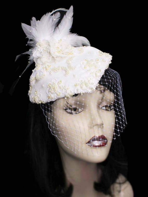 9006611e5c3 Pearl Fleur Wedding Feathered Cocktail Hat Blusher Birdcage