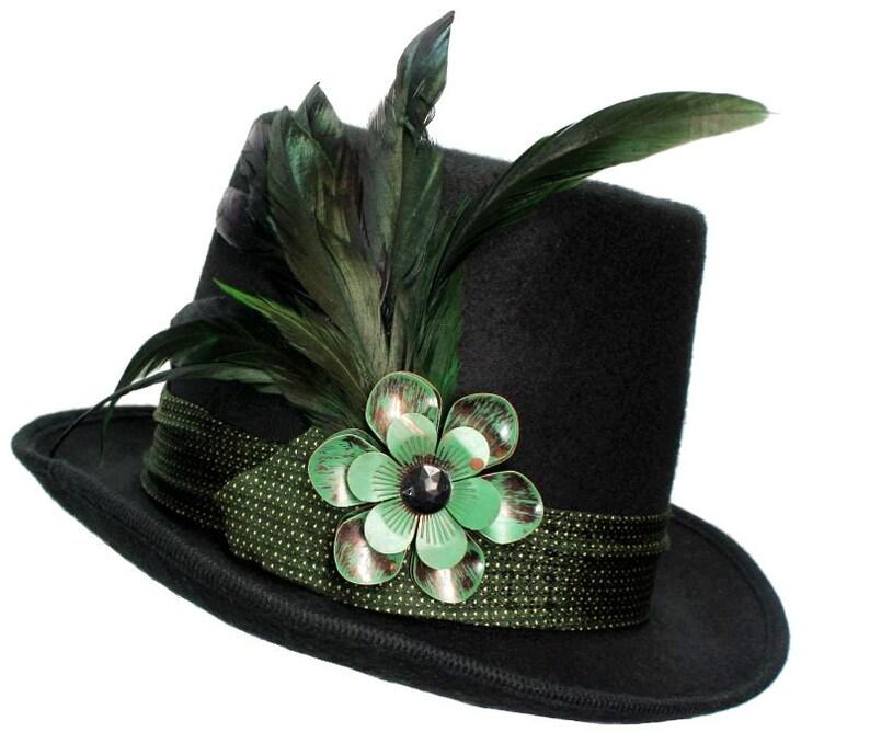 Black Wool Top Hat Flower Market Green Flower Steampunk image 0