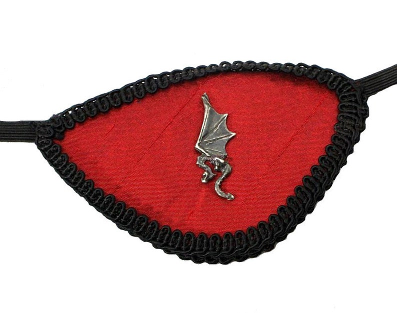 Eye Patch Red Dragon Black Gothic Medieval Steampunk Pirate image 0