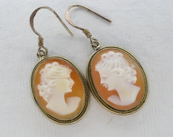 Sterling Silver Acrylic Cameo Dangle Earrings