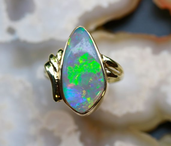 14K .70CT Genuine Oval Opal and Diamond Pendant White Gold