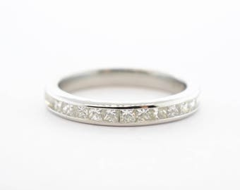 Platinum Princess Cut 12 Stone Diamond Anniversary Band- Size 6