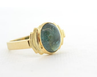 2.6ct Tourmaline Cabochon Ring Indicolite 18K Yellow Gold Size 4.25