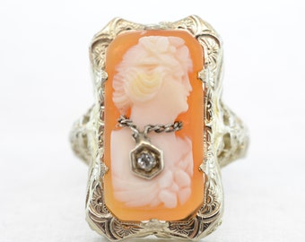 VIntage Cameo Ring with Diamond Necklace Detail 14K White Gold Size 3.25