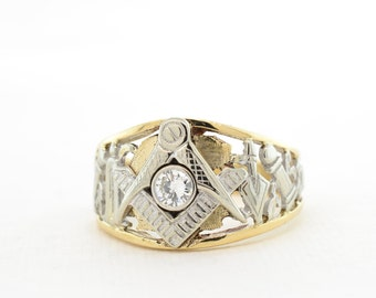 10K Yellow and White Gold Masonic Ring with 0.25ct Diamond, Size 11