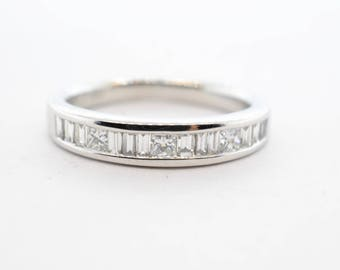14K White Gold RB .37ctw VS-SI Baguette and Princess Cut Diamond Band- Size 4.25