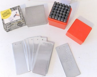 """Metal Stamp Set - 6mm 1/4"""" Letter and Number Stamp Kit with Steel Bench Block and Aluminum Tags - Craft Supply"""