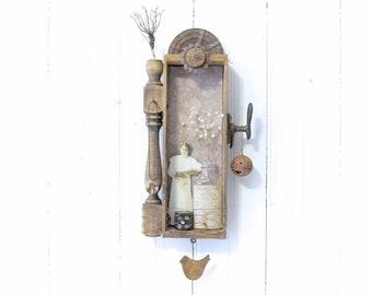 Assemblage Art Niche Shadowbox Wall Art - Vintage Wood Cheese Box - Key Hooks - Salvage Architectural - Repurposed Rusty Metal