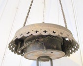 Antique Metal Hanging Oil Lamp Part - Vintage Lamp Part with Chains - Vintage Ceiling Light Fixtures - Antique Brass - Salvage
