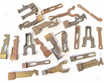 Bundle of 20 Various Vintage Industrial Iron Salvage Pieces - Iron Machinery Parts - Assemblage Art Supply