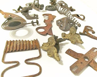Bundle of 18 Various Vintage Rusty Iron Salvage Pieces - Assemblage Art Supply - Garden Art Supply - Unique Shapes