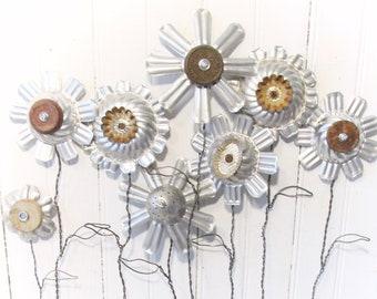 8 Repurposed Tin Molds Flower Bouquet - Assemblage Art Industrial Garden Blooms on Twisted Wire Stems -  Kitchen Tin Garden Flowers