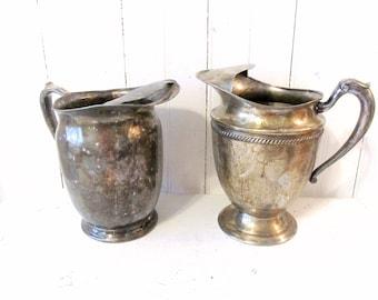 2 Vintage Silver Plate Water Pitchers - Vintage Aged Patina Pitchers