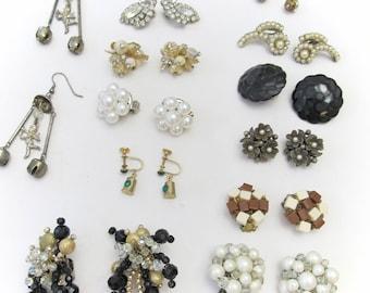 Bundle of 13 Vintage Earring Pairs - De Stash Sale - Vintage Jewelry Sale