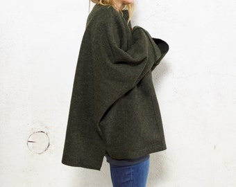 Moss Green Oversize  Boiled Wool Tunic Sweater - optional pockets