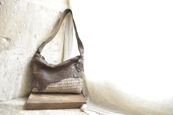 Byloom and Hyde brown leather and beige weave bag.