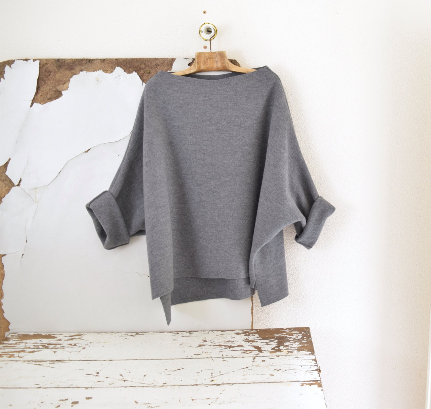 e88ac7750d59 Tunic Sweater in Grey Boiled Wool, Soft Wool Oversize Top, Loose ...