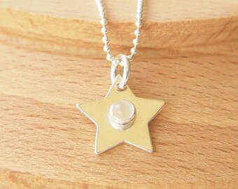 Moonstone Necklace - Birthstone Necklace - Star Pendant - Star Chain - Moonstone Pendant - June Birthstone - Silver Star Charm