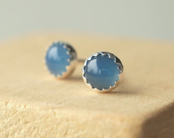 Blue and Silver Studs - Blue Agate Studs - Blue Earrings - Blue Gemstone Earrings - Silver Stud Earrings. Cabochon Earrings - Gift for Her