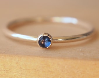 Sapphire Ring - Sapphire Ring Sterling Silver- September Birthstone - Birthstone Ring - Stacking Sapphire Ring - Blue Gemstone Ring
