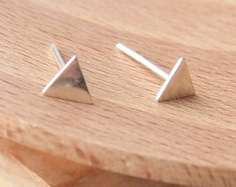Small Triangle Earrings - Sterling Silver Tiny Stud Earrings - Geometric Jewellery - Minimalist Earrings - Modern Stud Earrings