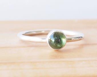 Green Tourmaline Ring - Tourmaline Birthstone Ring - October Birthstone Jewellery - 5mm Tourmaline Gemstone Ring - Stacking Birthstone Ring