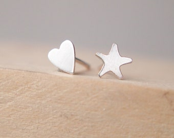 1c522eb99 Silver Star and Heart Mixed Earrings - Mismatched Pair Earrings - Mixed Stud  Earrings - Sterling Silver small Studs - Odd Pair Studs
