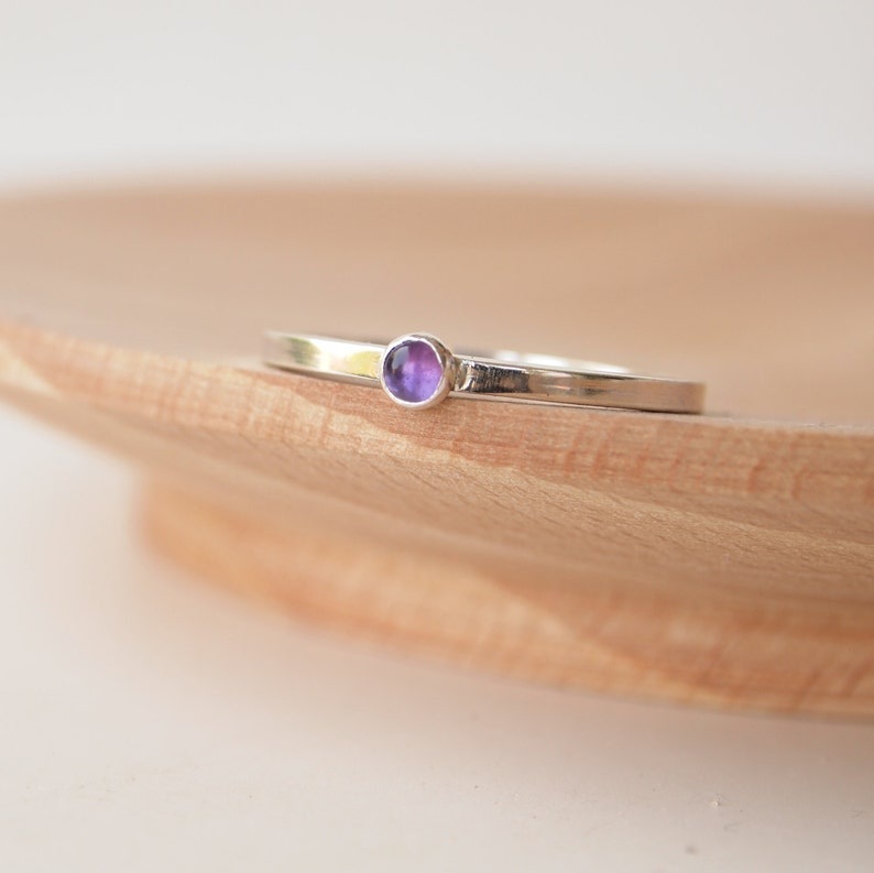 Amethyst and Silver Stacking Ring  February Birthstone image 0