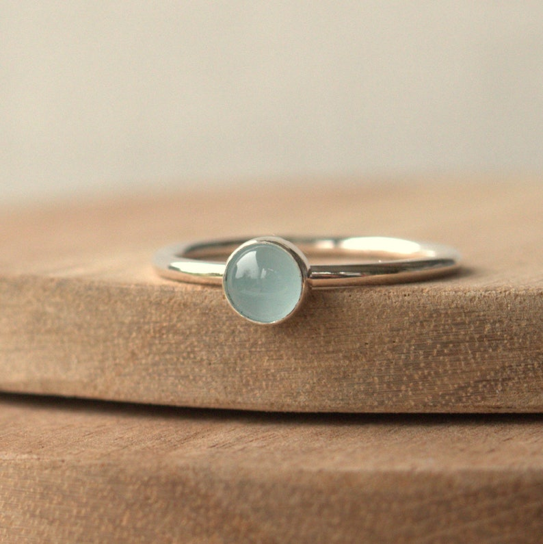 Cloudy Aquamarine Silver Ring  March Birthstone Stacking Ring image 0
