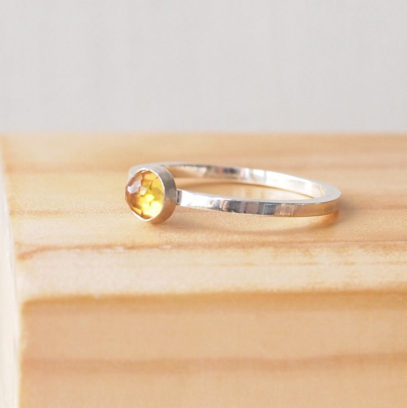 Citrine Ring in Sterling Silver  Citrine Yellow Ring  image 0