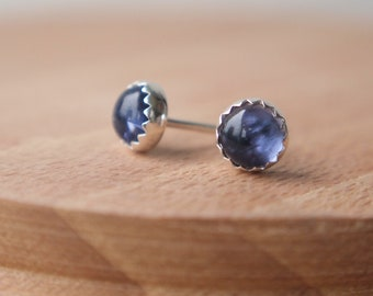 Iolite Studs- Purple Silver Studs - Sterling Silver Studs - Gemstone Studs -  5mm Iolite - Gifts for Her - Small Studs