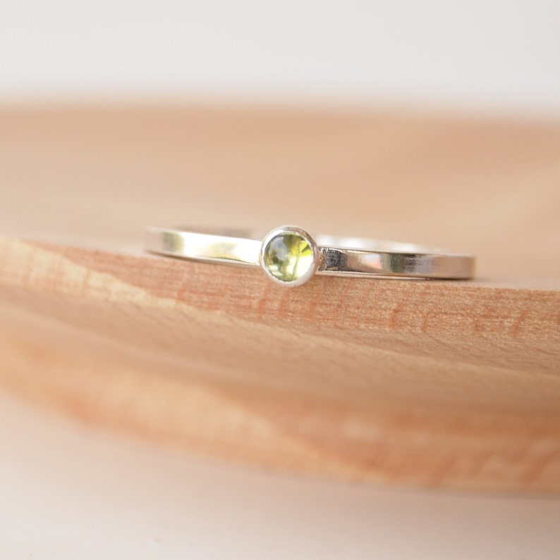 Peridot Ring  Birthstone Ring  August Birthstone  Stacking Square Band