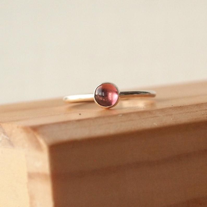 Tourmaline Ring  Pink Tourmaline Silver Ring  Stacking Rings image 0