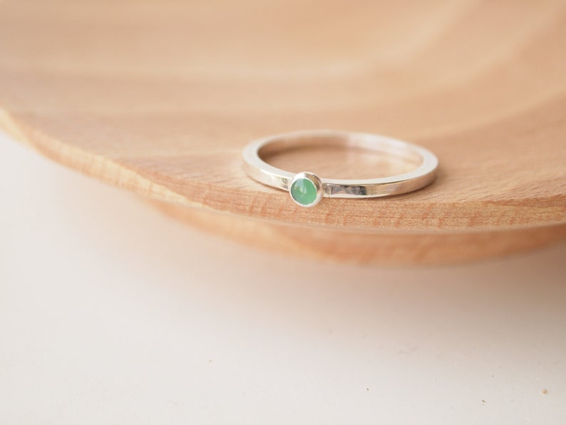 Emerald Ring  Sterling Silver   May Birthstone  Emerald image 0