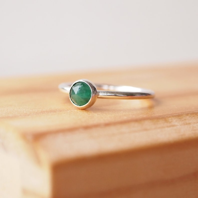 Emerald Ring  Sterling Silver and Emerald Ring  May image 0