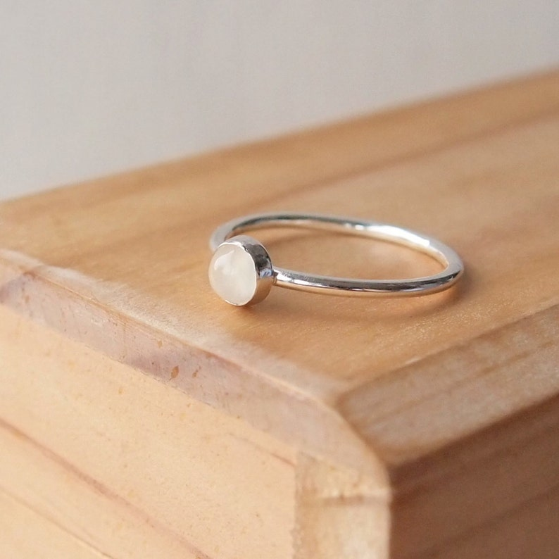 Moonstone Stacking Ring  Size O  June Birthstone Jewelry  image 0