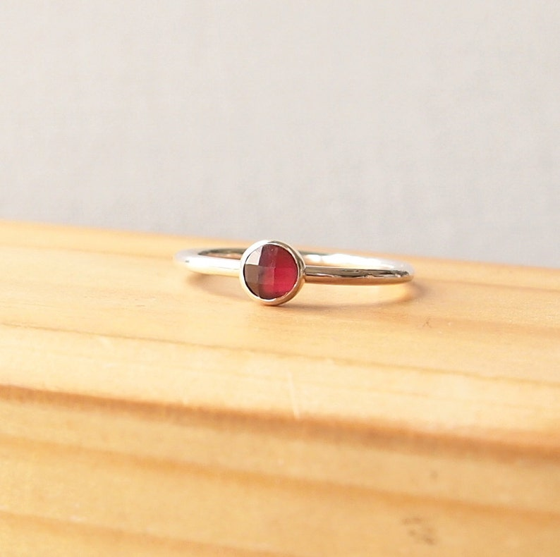 Garnet and Silver Ring  Red Gemstone Ring  January image 0