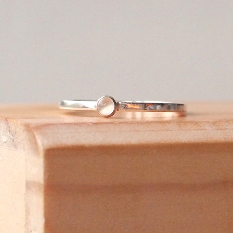Moonstone Ring  Dainty Moonstone Ring  Sterling Silver image 0