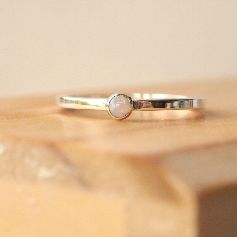 Opal Ring  Silver Opal Stacking Ring  Birthstone Jewellery image 0