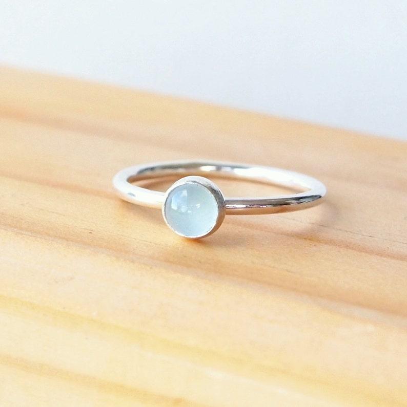Aquamarine Ring  Cloudy Aquamarine Silver Ring  Birthstone image 0
