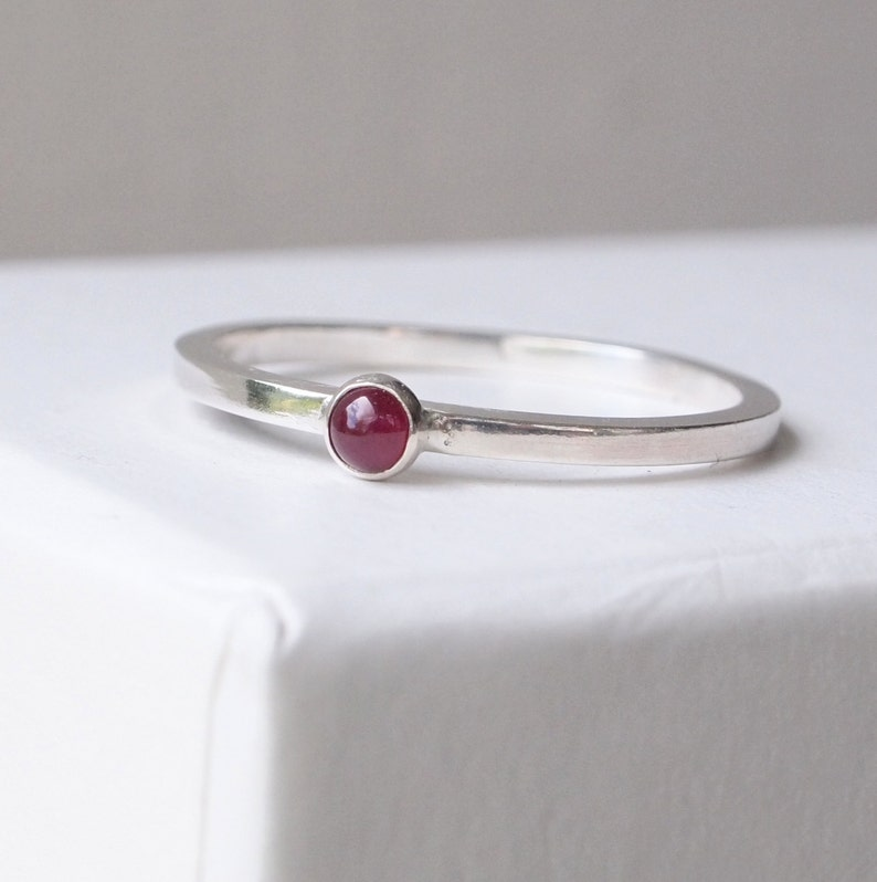 Ruby Ring  Silver Ruby Ring  Stacking Ring  Birthstone Ring image 0