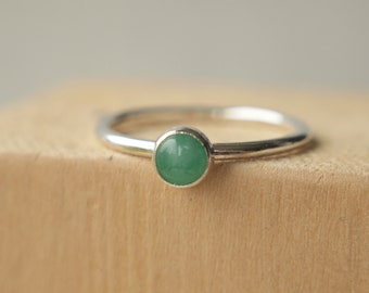 Emerald and Silver Ring - Emerald Cabochon Ring - May Birthstone Jewellery - May Birthday Gift - Gift for Her - Green Gemstone Ring