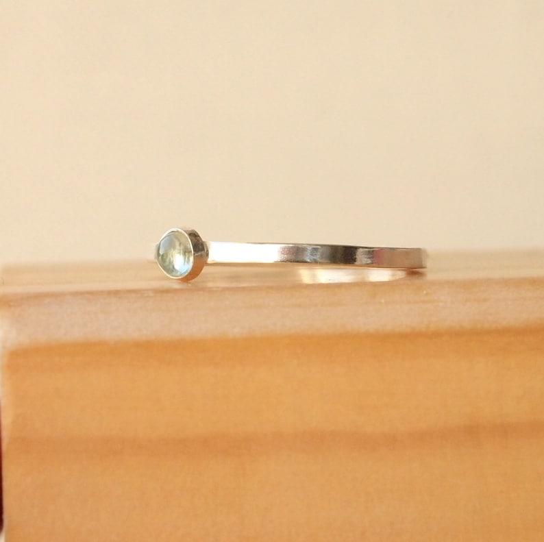 Aquamarine Ring  Silver Birthstone Ring  March Birthstone image 0