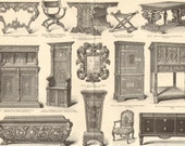 FURNITURE, PERIODS and Styles Antique Engraving, printed in 1890 Rococo, Renaissance, Gothic, Louis XV. Style, 129 years old fine print