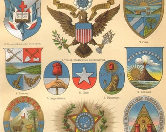 1905 Coat of Arms of American Countries Original Antique Chromolithograph