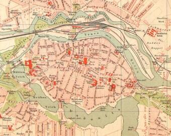 Karte Lübeck.Alte Karte Von Lübeck Etsy