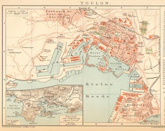 1896 Antique City Map of Toulon, Southern France