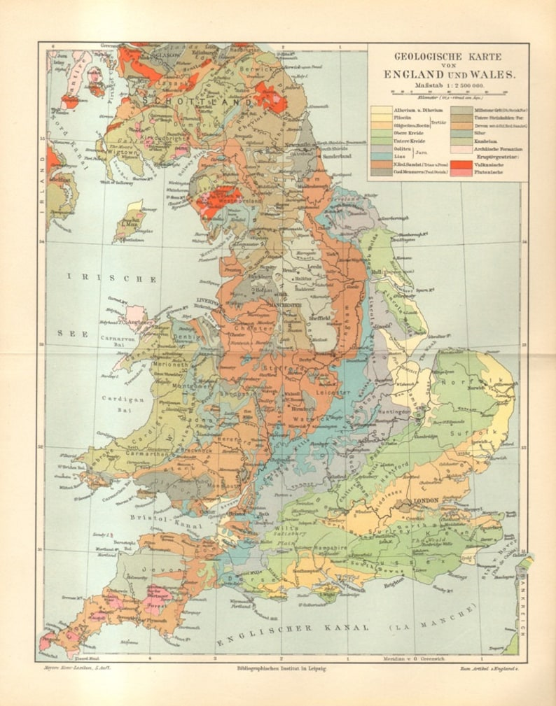 1895 Original Antique Geological Map of England and Wales on blank map of britain, political map of britain, physical map of britain,