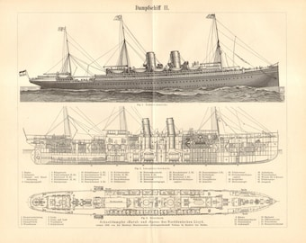1894 Lloyd's Steamboat Havel and Spree Original Antique Engraving to Frame