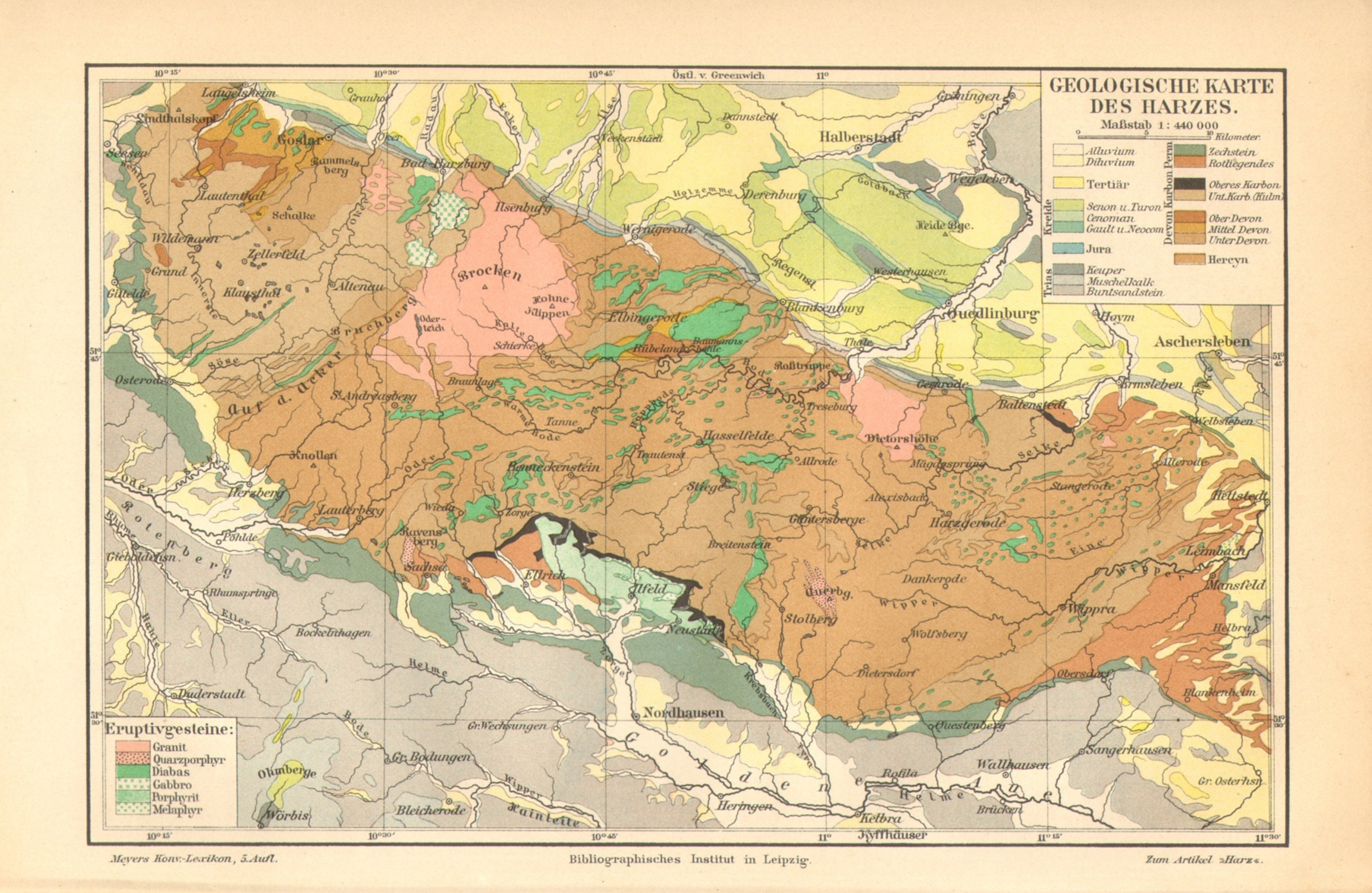 Map Of Germany Mountains.Harz Mountains Germany Antique Geological Map Printed In 1895